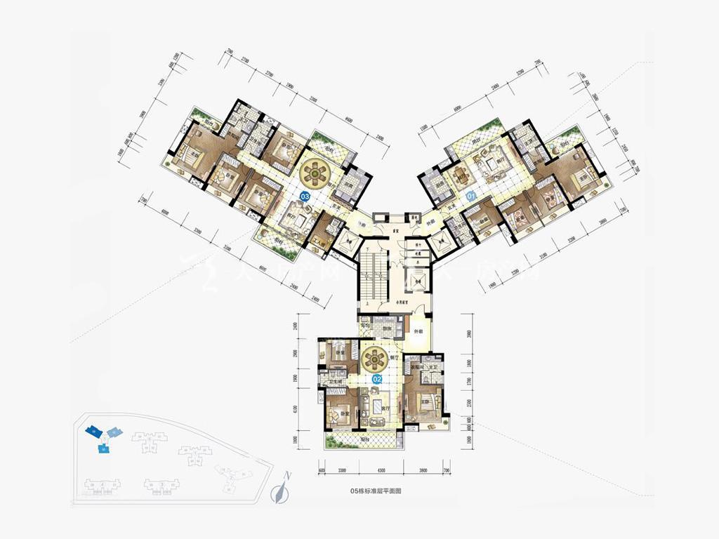 九洲保利天和高层 05户型 5室2厅3卫1厨 建筑面积:197.00㎡