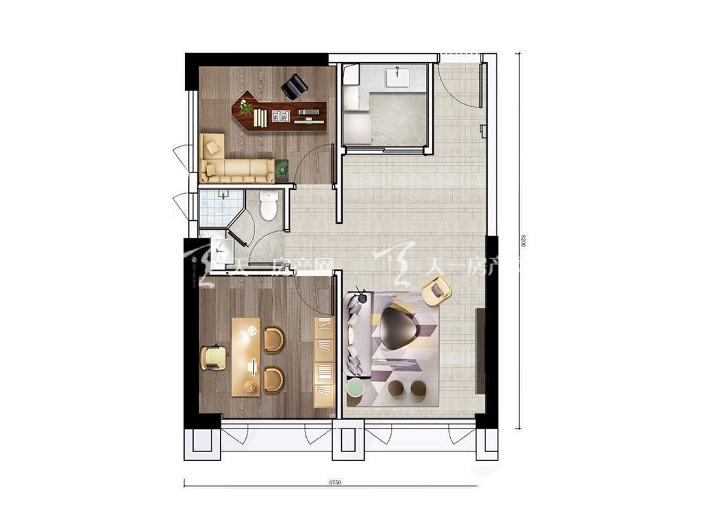 珠海富力优派广场 DE栋D户型, 商住, 建筑面积约72.00平米.jpg