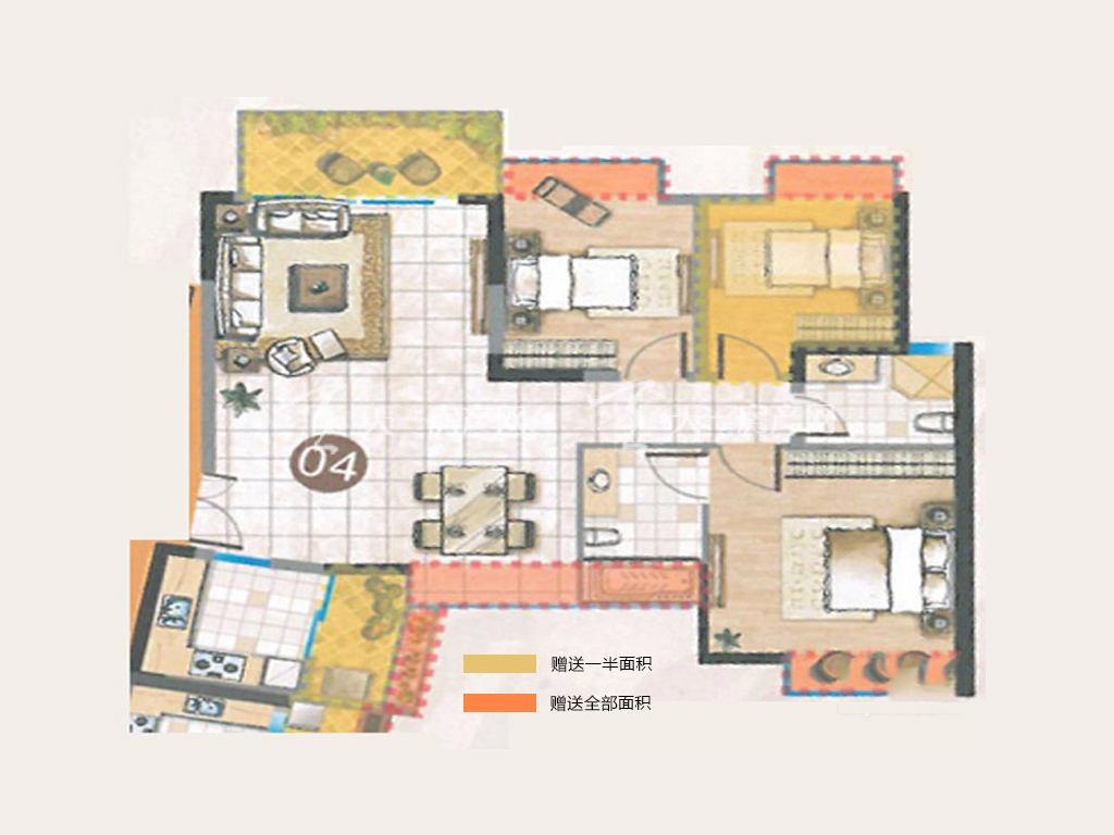 誉名都 A户型, 3室2厅2卫0厨, 建筑面积约89.45平米.j