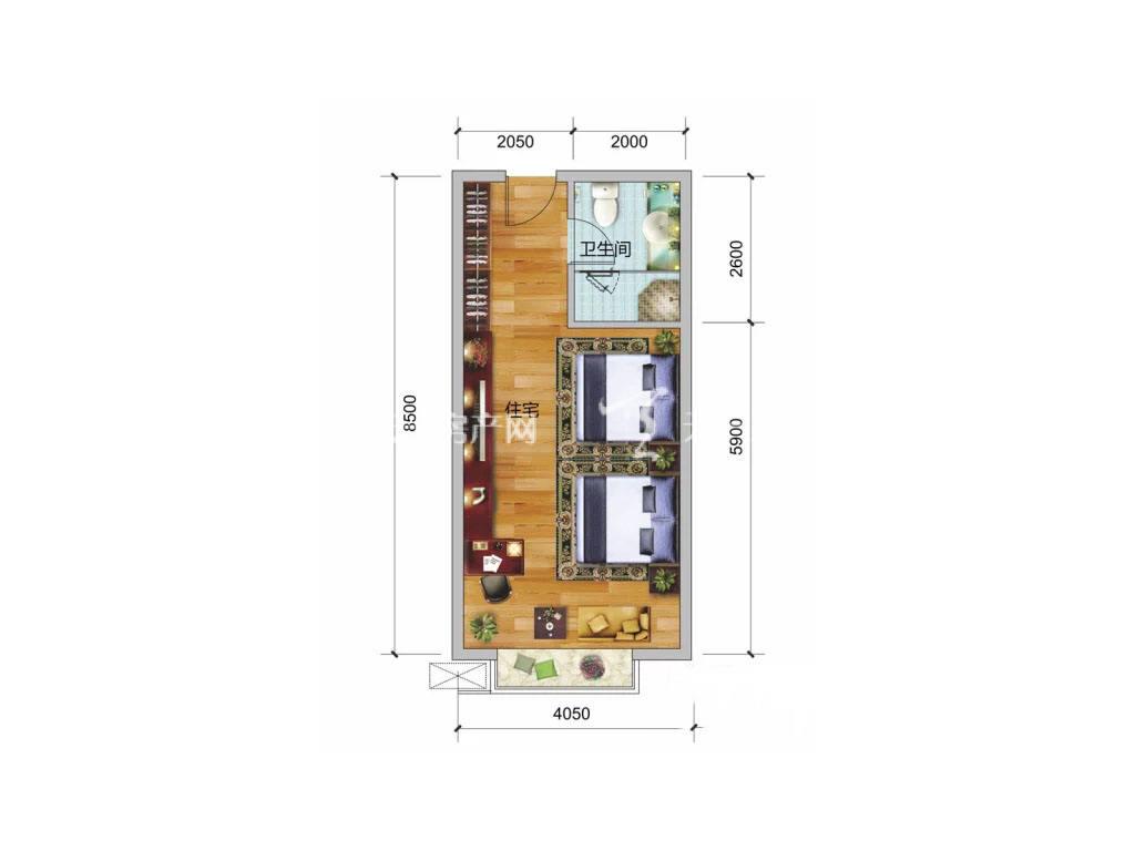 彰泰阳朔乌布小镇 5、6#户型, 1室0厅1卫, 建筑面积约44.60平米