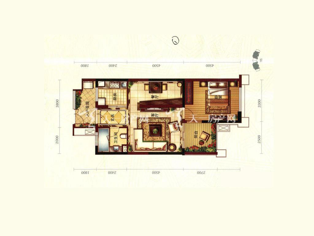 天隆三千海 珊瑚园6栋G-1户型1室2厅1卫1厨建筑面积75.86㎡