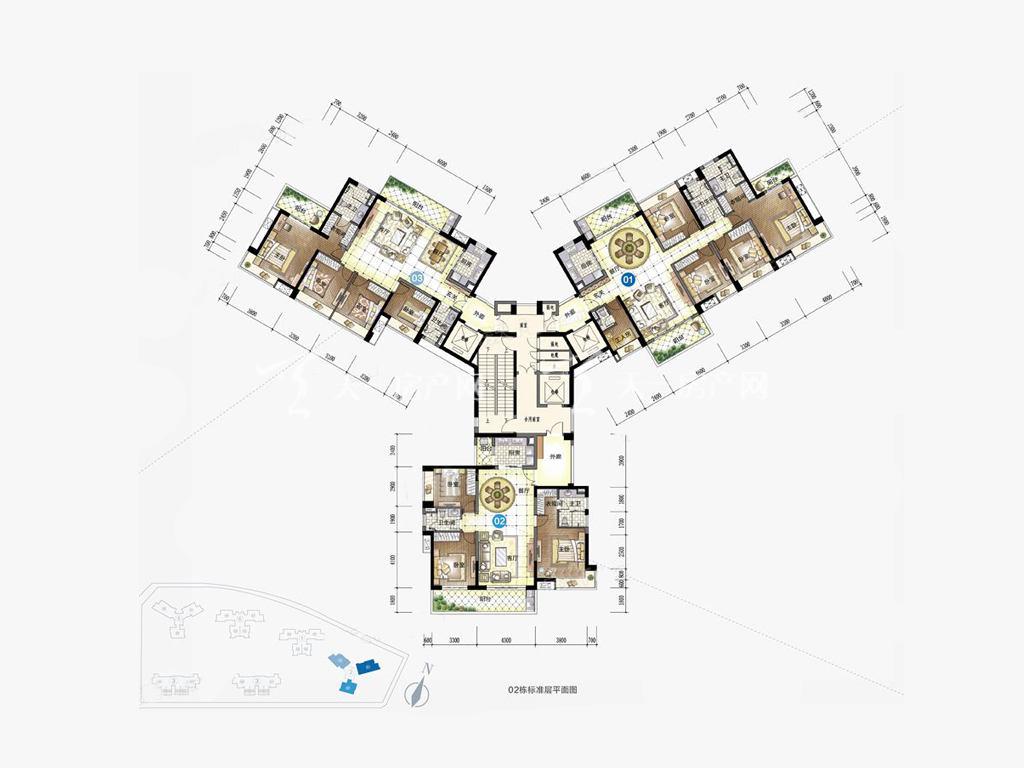 九洲保利天和高层 02户型 3室2厅2卫1厨 建筑面积:146.00㎡