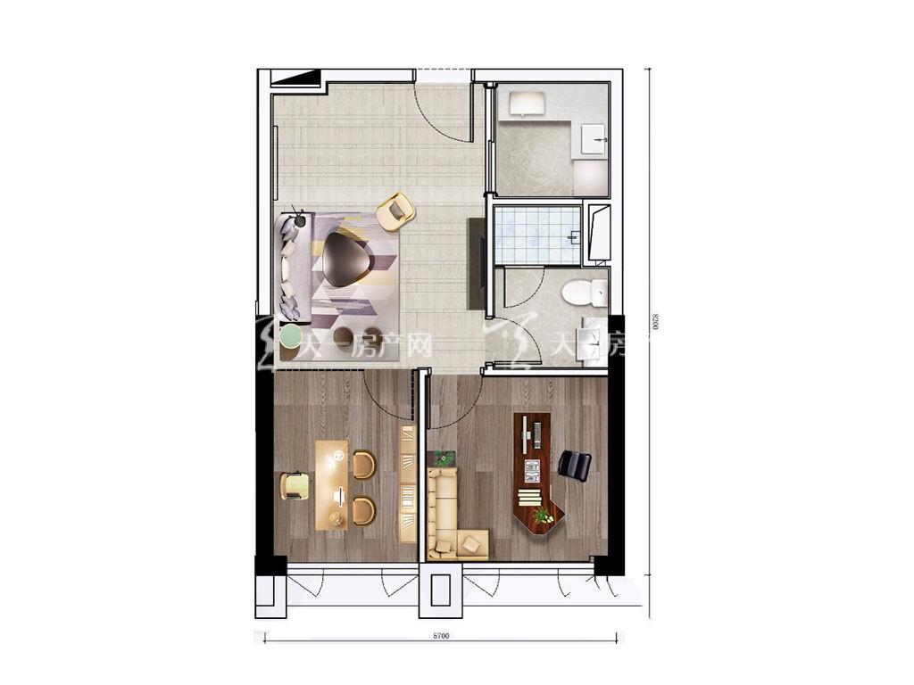 珠海富力优派广场 DE栋C户型, 商住, 建筑面积约63.00平米.jpg