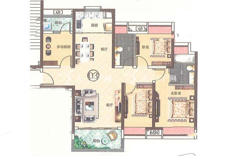 合生帝景城 C2 03户型 4室2厅2卫1厨 建筑面积:128.54㎡