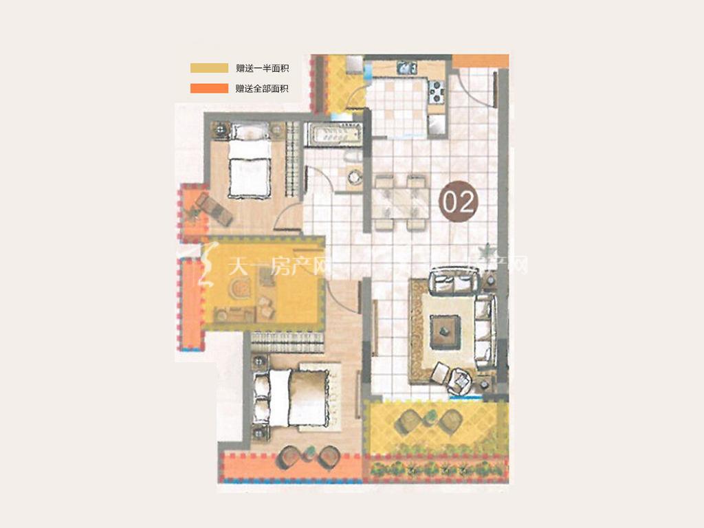 誉名都 02户型, 3室2厅1卫0厨, 建筑面积约83.00平米.