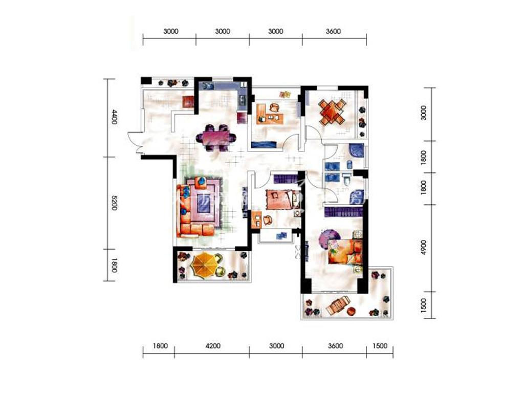 第九湾 9、10号楼三居室04户型3室2厅2卫建筑面积约128平米