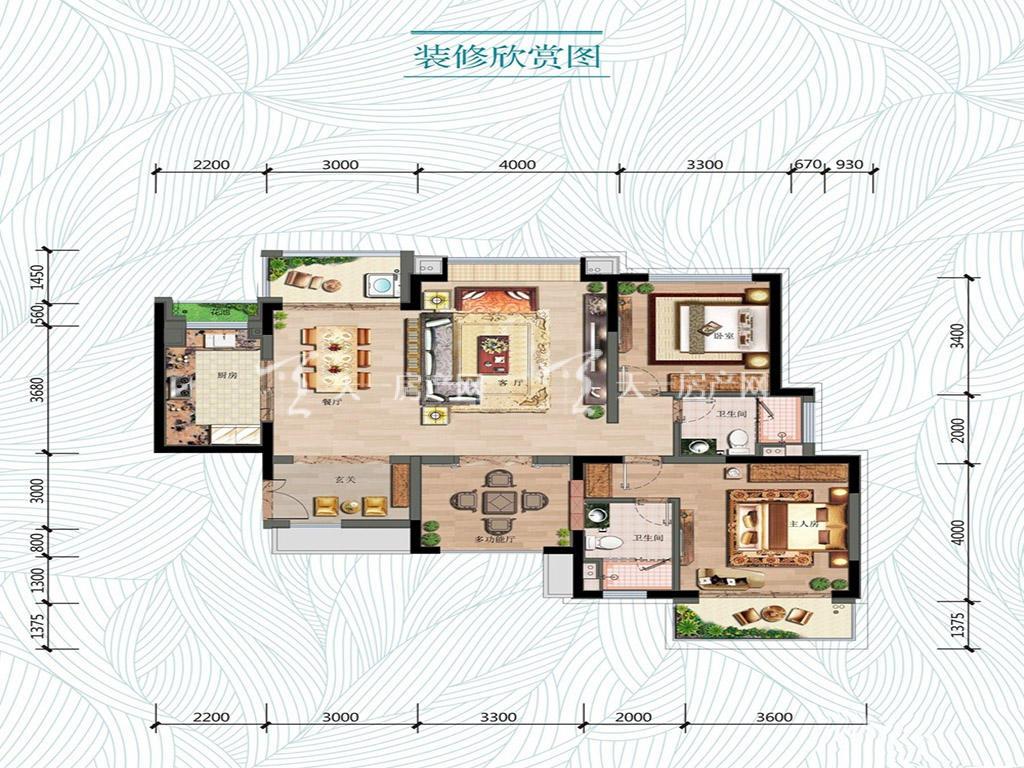 万科红树东岸万科红树东岸2#01户型图3室2厅2卫1厨建筑面积126㎡