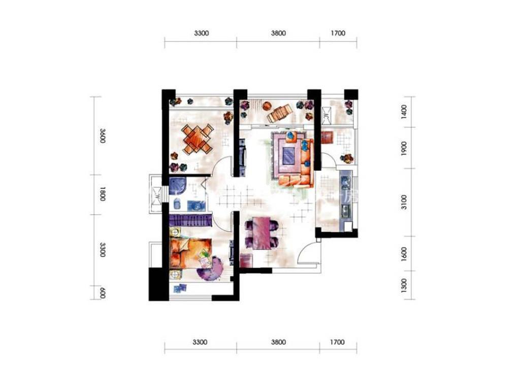 第九湾 11#1-2单元A01-B061室2厅1卫建筑面积约76平