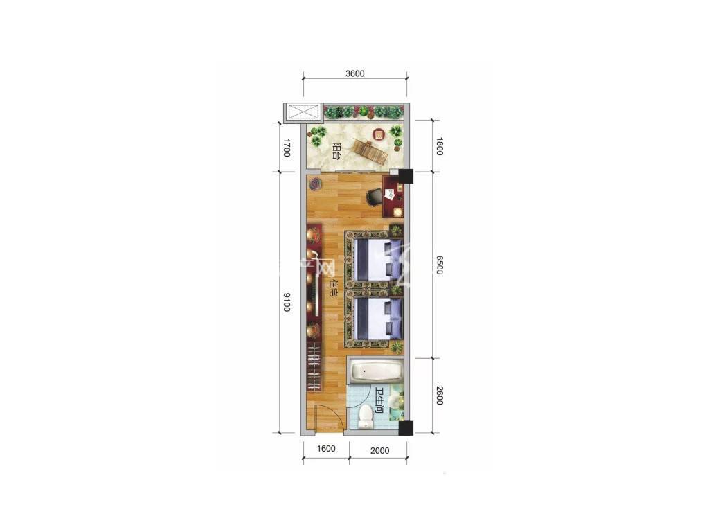 彰泰阳朔乌布小镇 1#户型, 1室0厅1卫, 建筑面积约47.10平米
