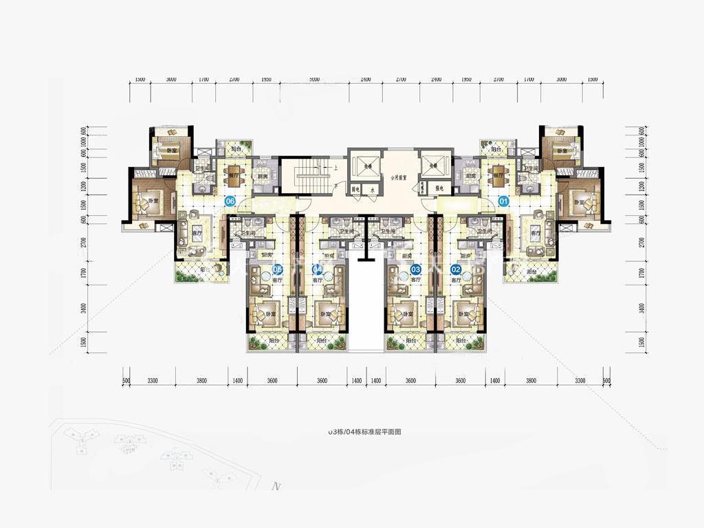 九洲保利天和高层 03-04户型 1室1厅1卫1厨 建筑面积:47.00㎡