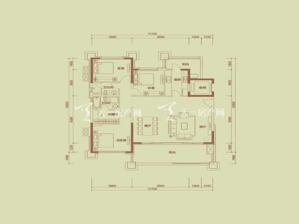 天隆三千海 泊心岸2栋A-1户型3室2厅2卫1厨建筑面积161.50㎡