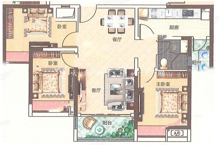 合生帝景城 C2 02户型 3室2厅1卫1厨 建筑面积:95.60㎡.