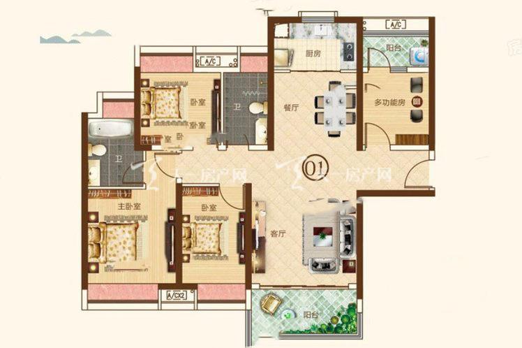 合生帝景城 4栋03户型 4室2厅2卫1厨 建筑面积:125.62㎡.