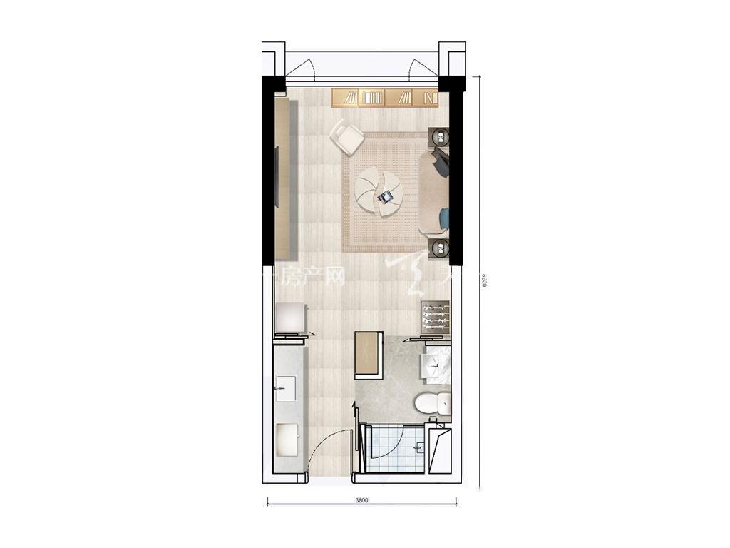 珠海富力优派广场 DE栋B户型, 商住, 建筑面积约42.00平米.jpg