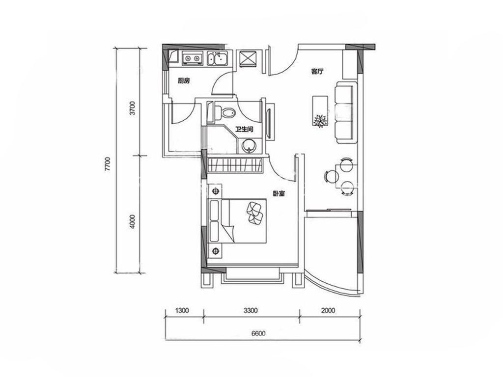 保利山水城 B户型 1室1厅1卫1厨 建筑面积:59.00㎡.jpg
