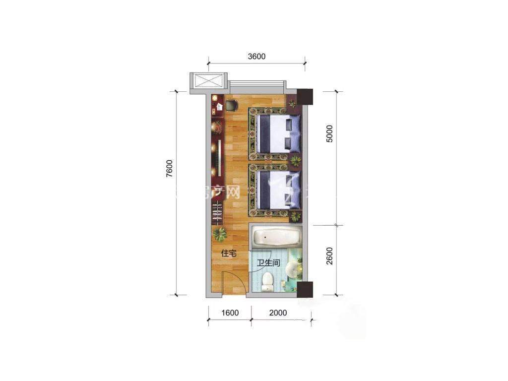 彰泰阳朔乌布小镇 3#户型, 1室0厅1卫, 建筑面积约37.10平米