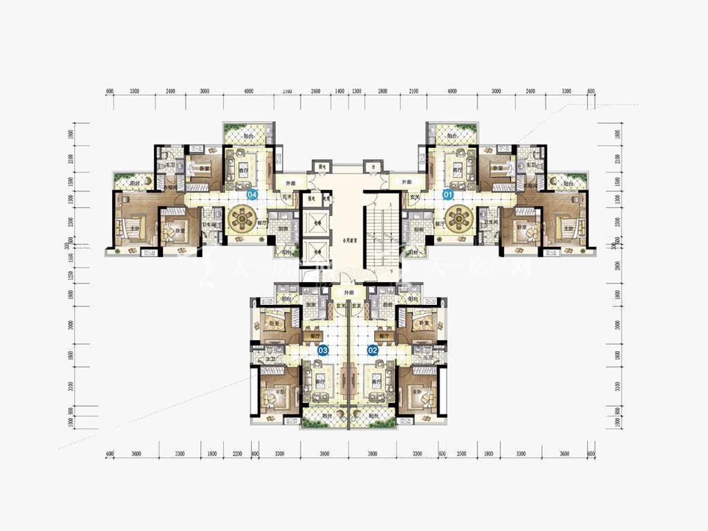 九洲保利天和高层 01-06户型 3室2厅2卫1厨 建筑面积:133.00㎡