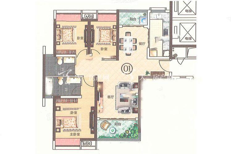 合生帝景城 C2 01户型 3室2厅2卫1厨 建筑面积:115.55㎡