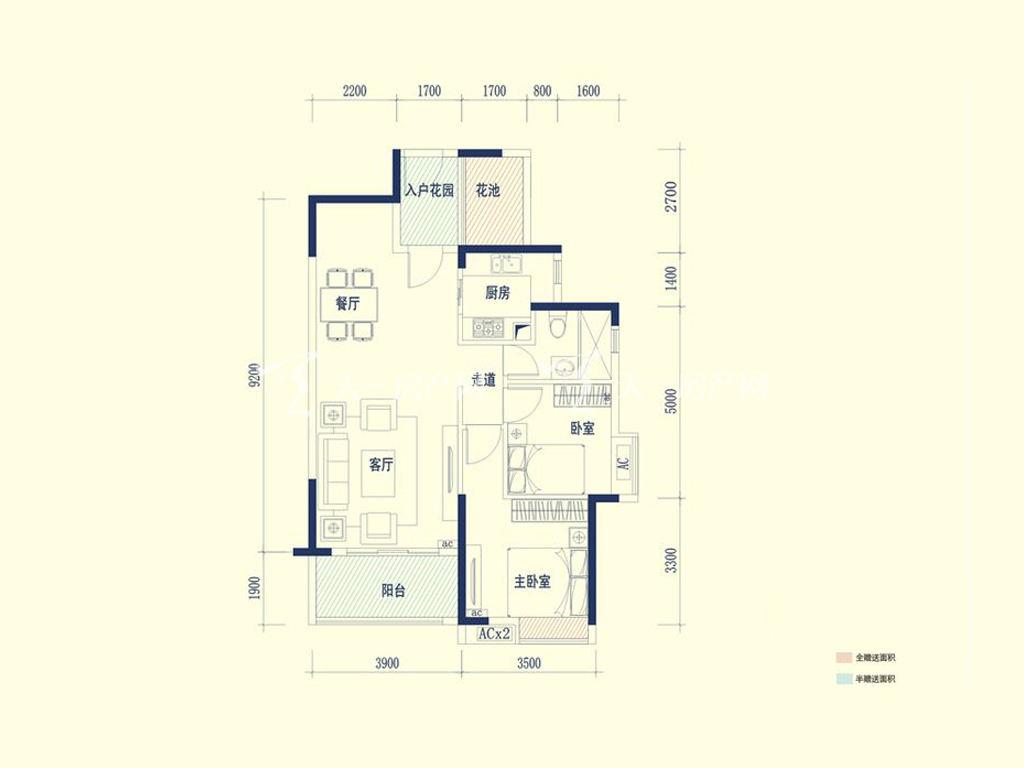 保利山水城 02户型 2室2厅1卫1厨 建筑面积:88.50㎡.jpg