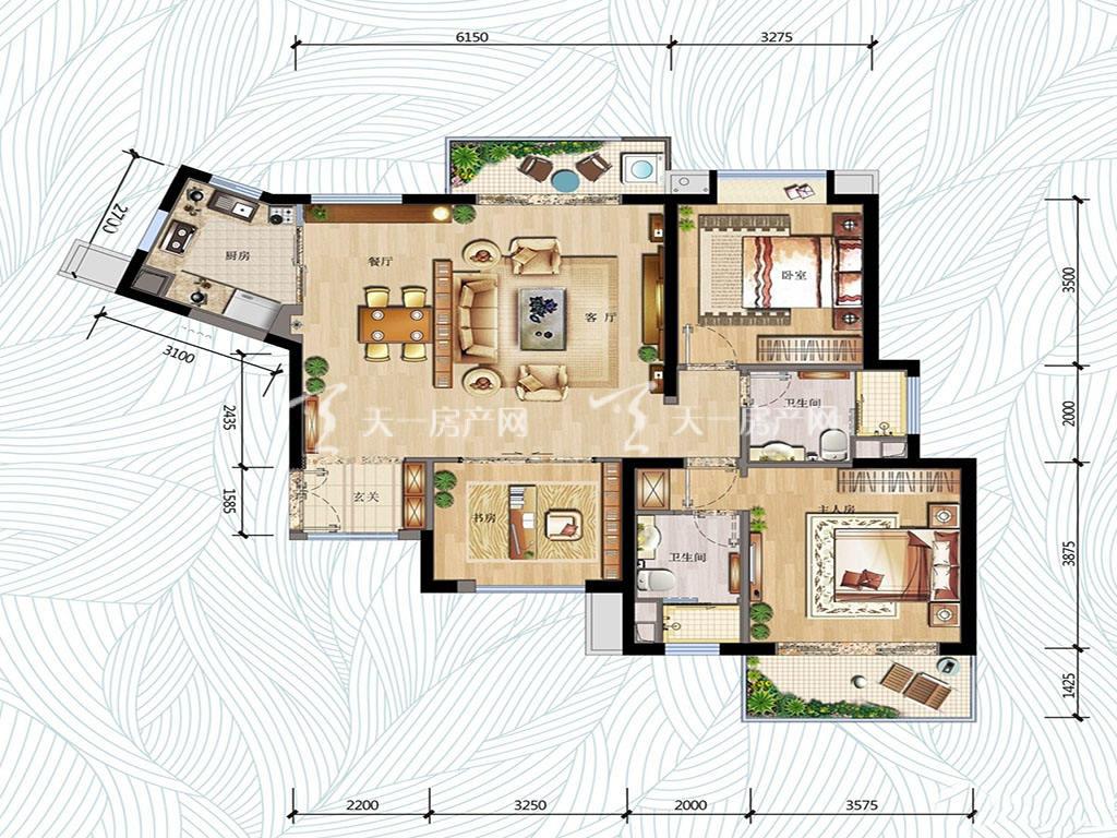 万科红树东岸万科红树东岸1#0203户型图3室2厅2卫1厨建筑面积120㎡
