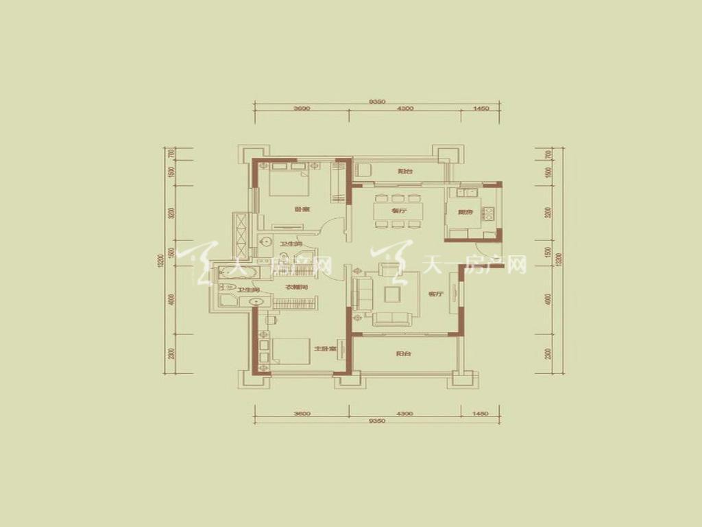 天隆三千海 泊心岸2栋C-1户型2室2厅2卫1厨建筑面积123.91㎡