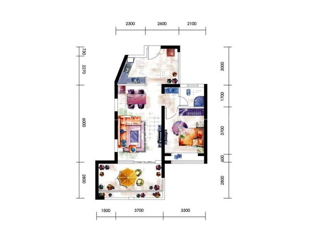 第九湾 11#1单元A03-A04户型1室2厅1卫建筑面积约72平