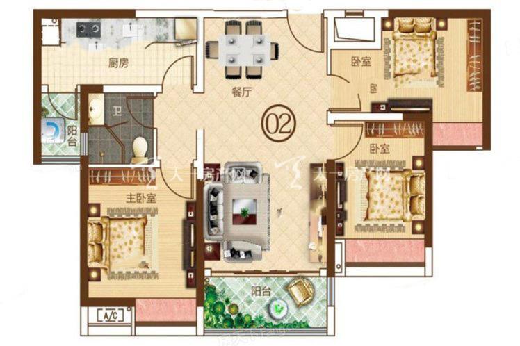 合生帝景城 4栋02户型 3室2厅1卫1厨 建筑面积:95.29㎡.j