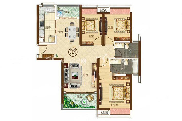 合生帝景城 4栋01户型 3室2厅2卫1厨 建筑面积:112.90㎡.