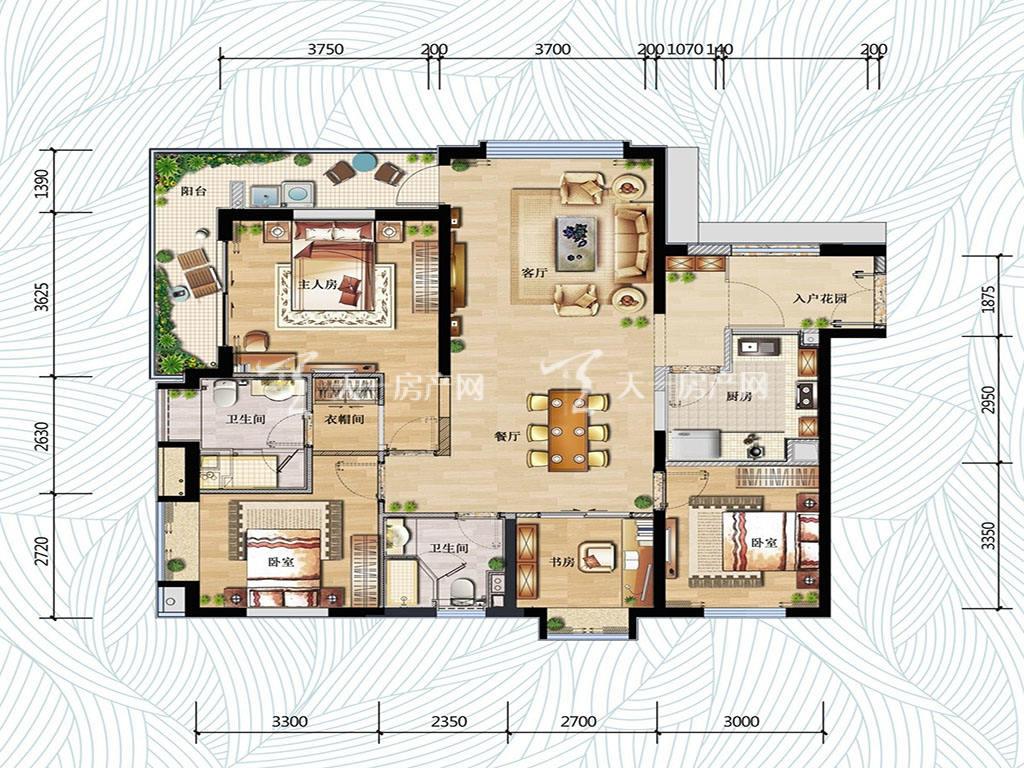 万科红树东岸万科红树东岸1#01户型图4室2厅2卫1厨建筑面积137㎡