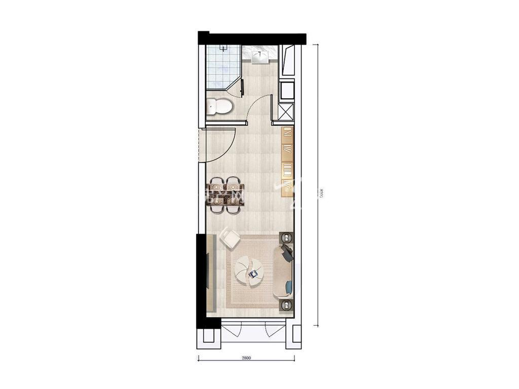 珠海富力优派广场 DE栋A户型, 商住, 建筑面积约32.00平米.jpg