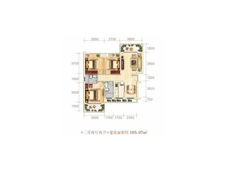 博泰海畔澜廷E户型3房2厅2卫建筑面积105.07㎡.jpg