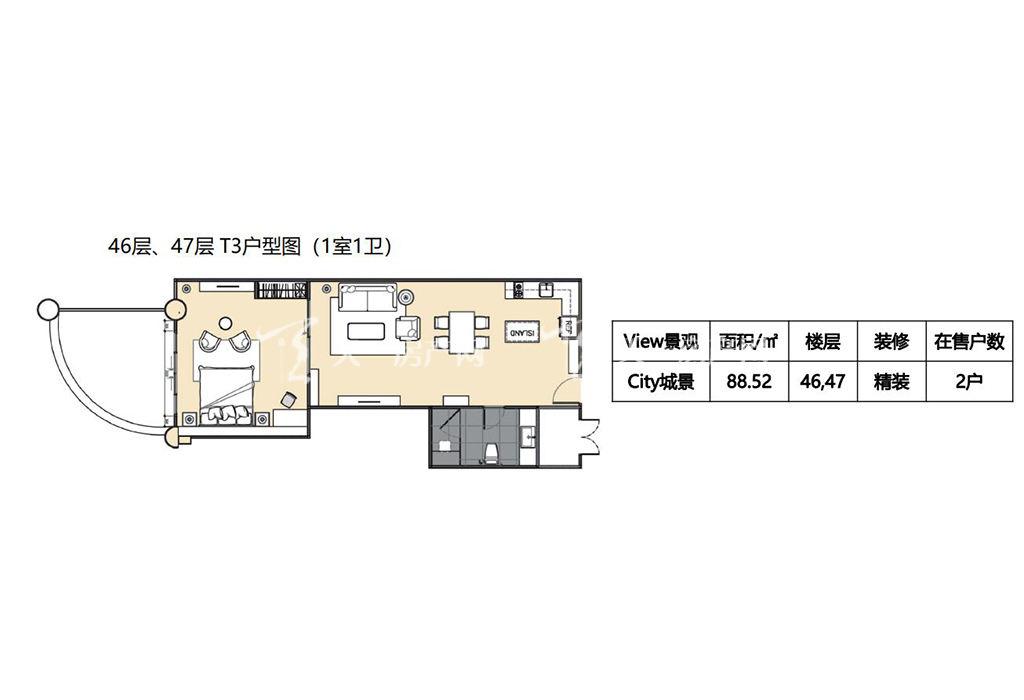 莲花酒店公寓T3户型1室1卫建筑面积88.jpg