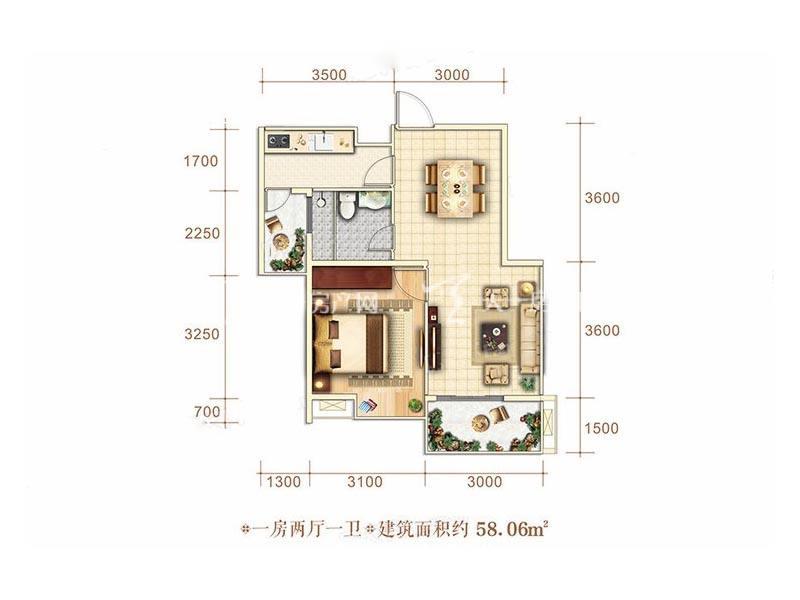 博泰海畔澜廷A户型1房2厅1卫1厨建筑面积58.06㎡.jpg