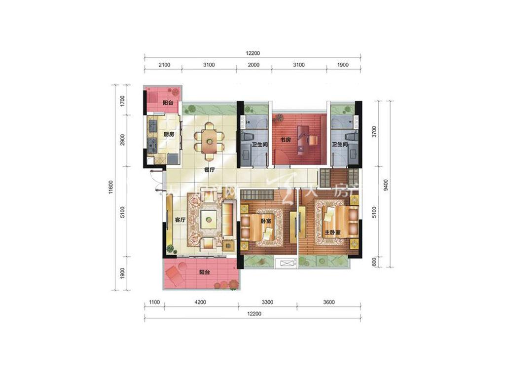中铁诺德国际12栋C3户型居室:3室2厅2卫1厨建筑面积:120.25㎡.jpg