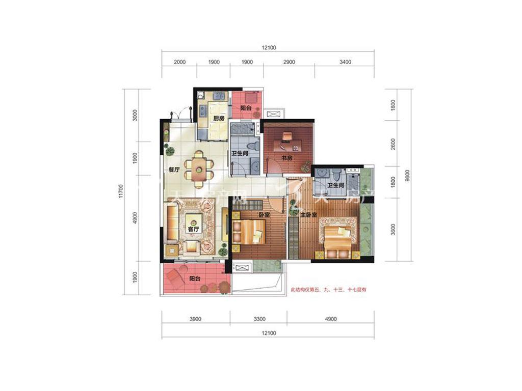 中铁诺德国际12栋C2户型居室:3室2厅2卫1厨建筑面积:112.78㎡.jpg