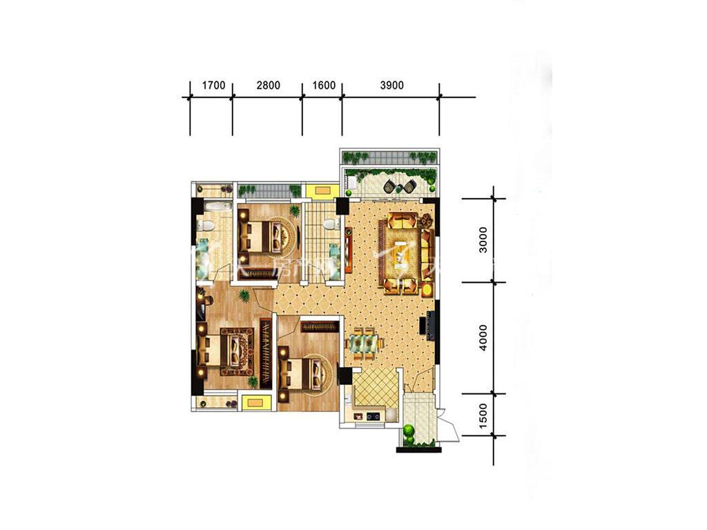 中电海湾国际社区B3户型,3室2厅2卫,建筑面积约83.29平米.jpg