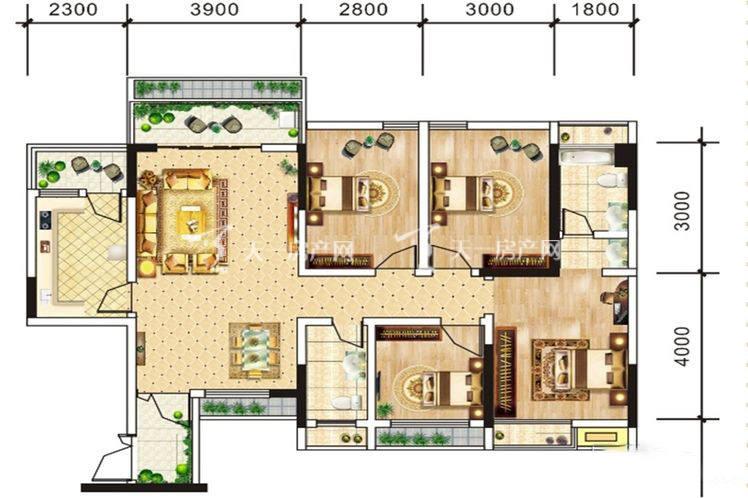 中电海湾国际社区B2户型-4室2厅2卫1厨-88.32㎡.jpg