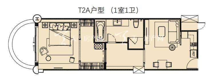 莲花酒店公寓T2A户型1室1卫建筑面积67.93㎡.jpg