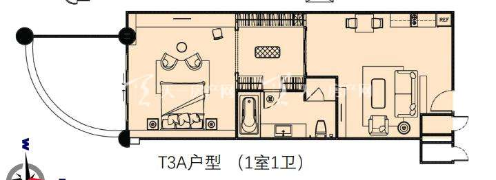 莲花酒店公寓T3A户型1室1卫建筑面积88.68㎡.jpg