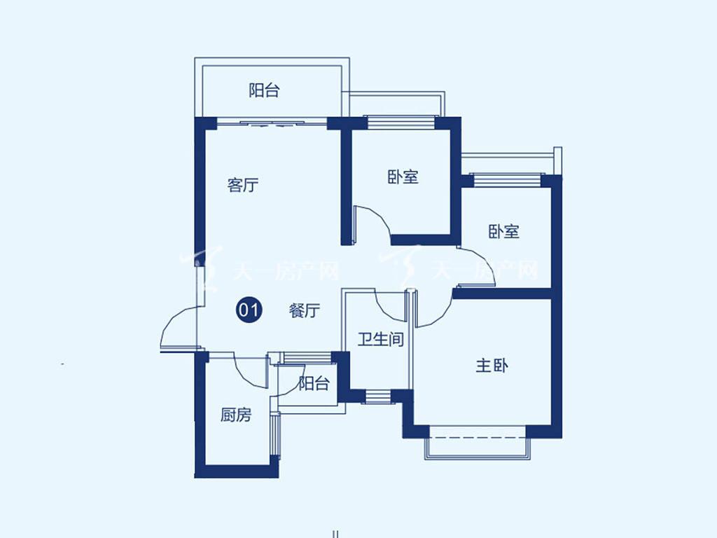 北海恒大御景半岛27#1单元01户型,3室2厅1卫,建筑面积约87.41平米.jpg