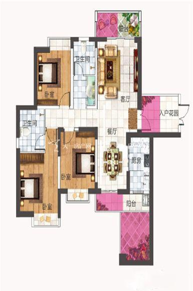 紫竹园紫竹园C2户型3室2厅2卫1厨131.00㎡.jpg