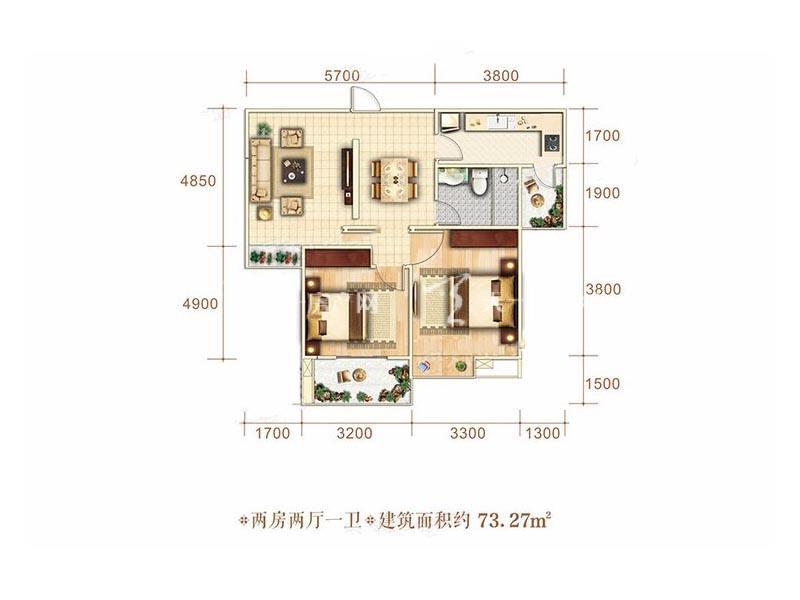 博泰海畔澜廷B户型2房2厅1卫1厨建筑面积73.27㎡.jpg