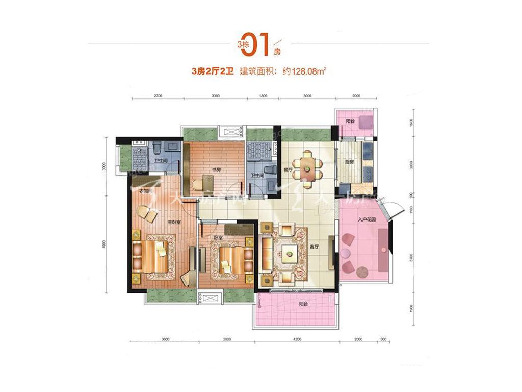 中铁诺德国际3栋01房户型居室:3室2厅2卫1厨建筑面积:128.08㎡.jpg
