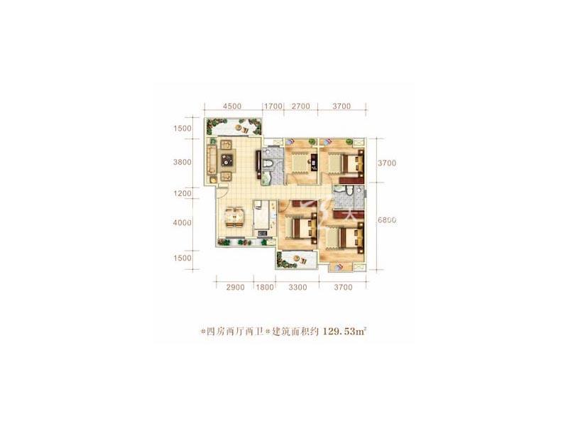 博泰海畔澜廷G户型4房2厅2卫建筑面积129.53㎡.jpg