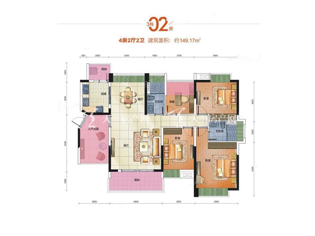 中铁诺德国际3栋02房户型居室:4室2厅2卫1厨建筑面积:149.17㎡.jpg