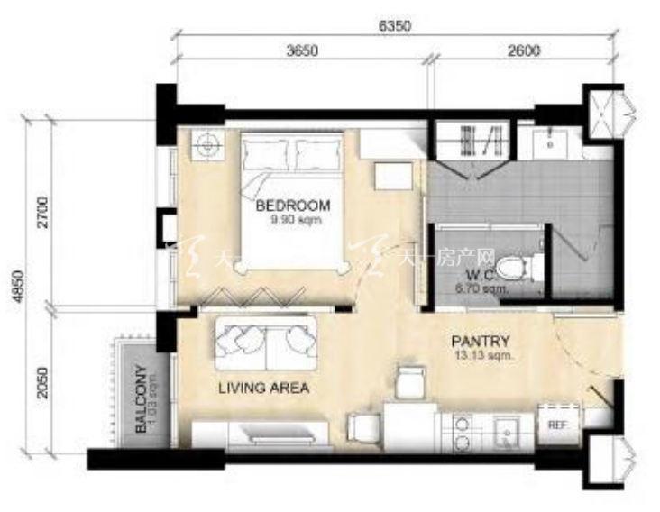 PARC EXO公寓项目A1户型建筑面积33.jpg