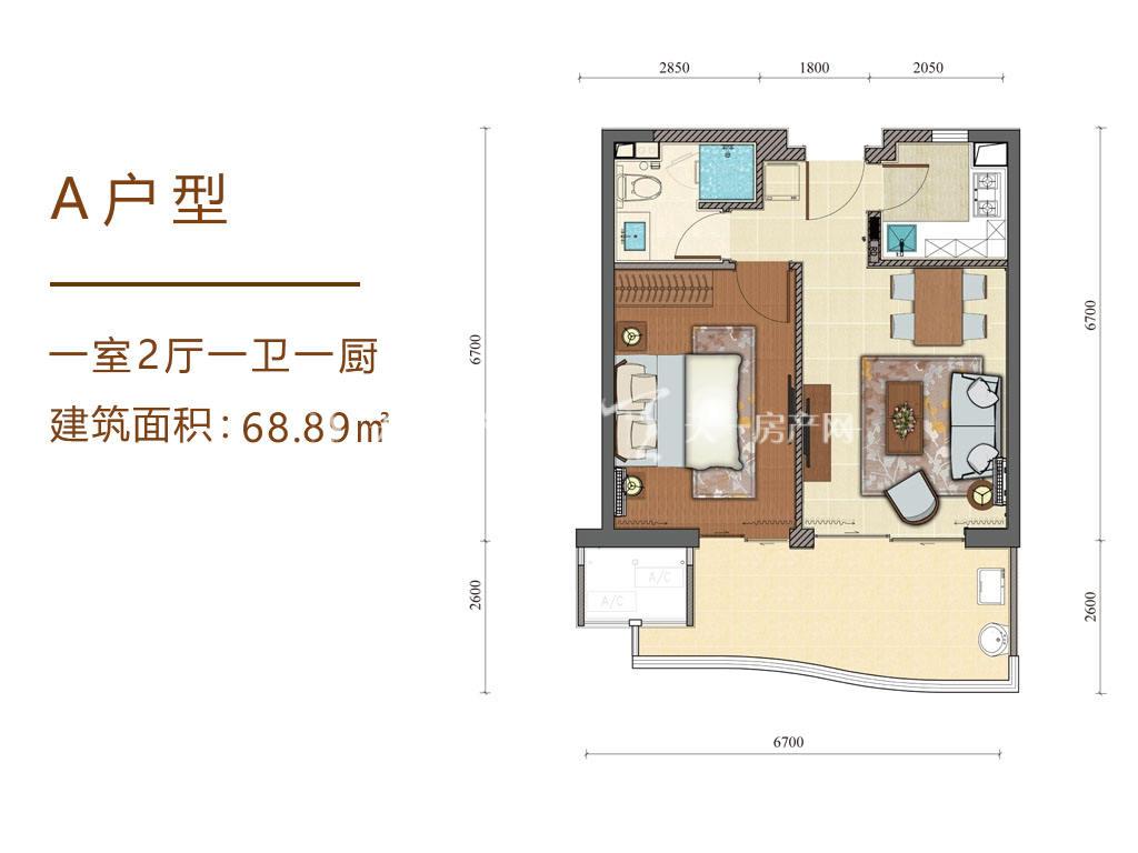 海南佰悦湾A户型图1室2厅1卫1厨68.89㎡.jpg