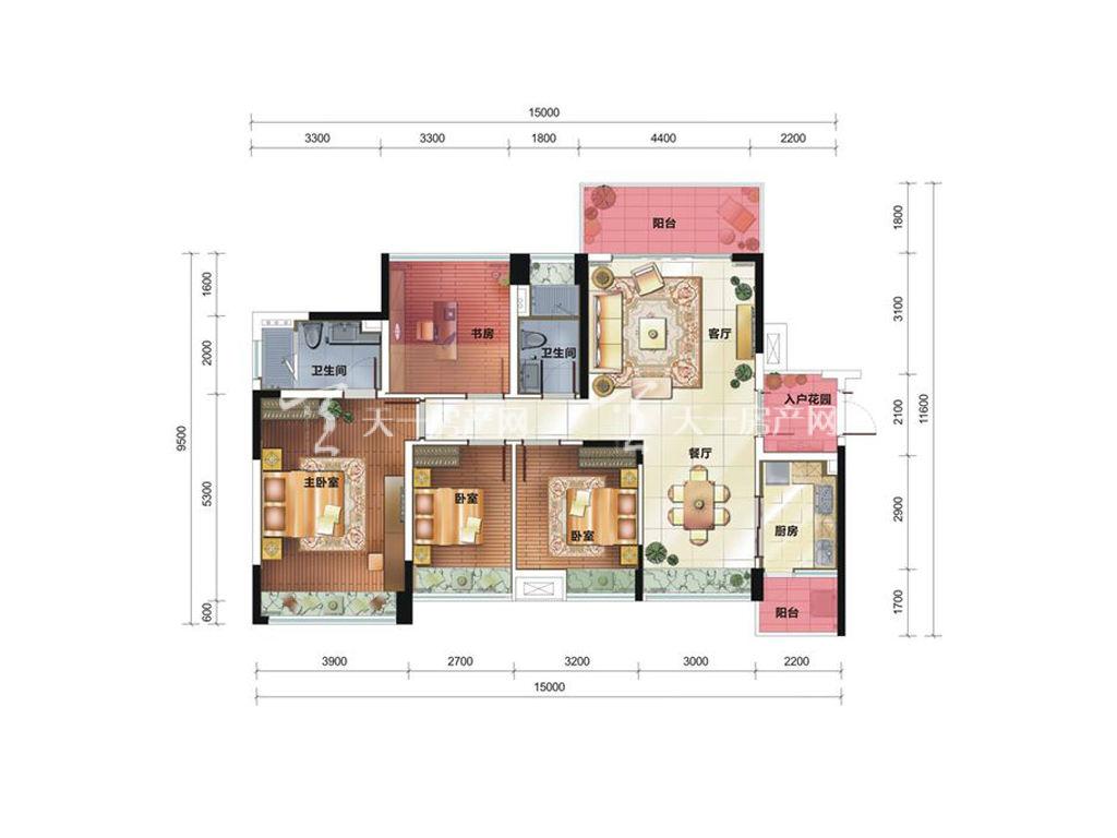 中铁诺德国际12栋C4户型居室:4室2厅2卫1厨建筑面积:142.01㎡.jpg
