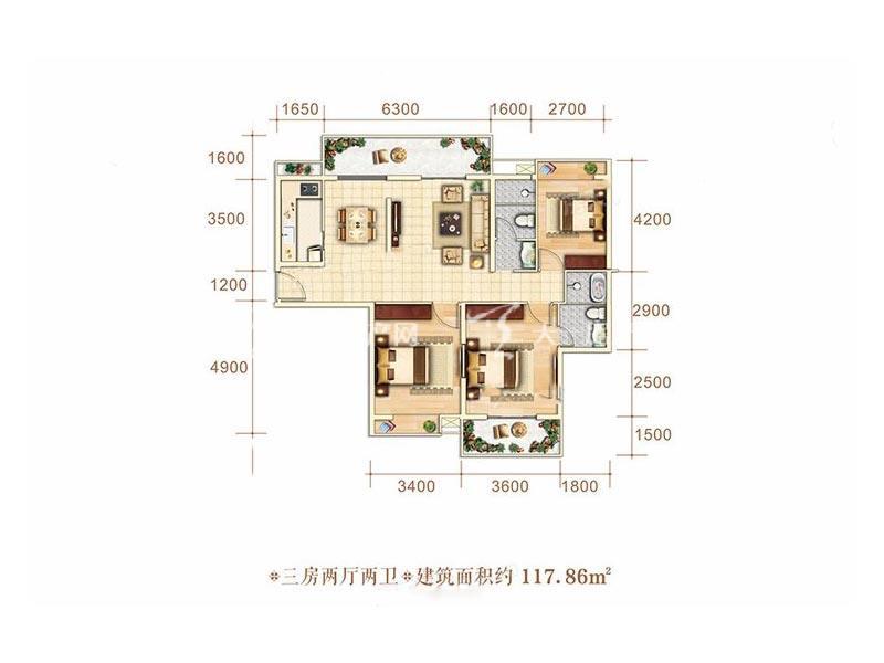 博泰海畔澜廷F户型3房2厅2卫1厨建筑面积117.86㎡.jpg