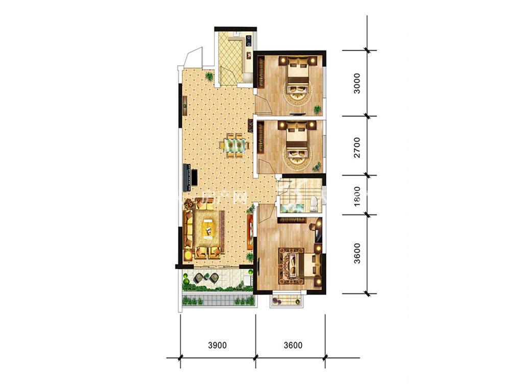 中电海湾国际社区B1户型,3室2厅1卫,建筑面积约88.37平米.jpg